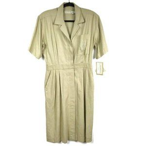 Liz Claiborne Silk Shirt Dress Tan Pockets Career